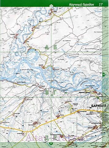 Подробная карта дорог Алтая